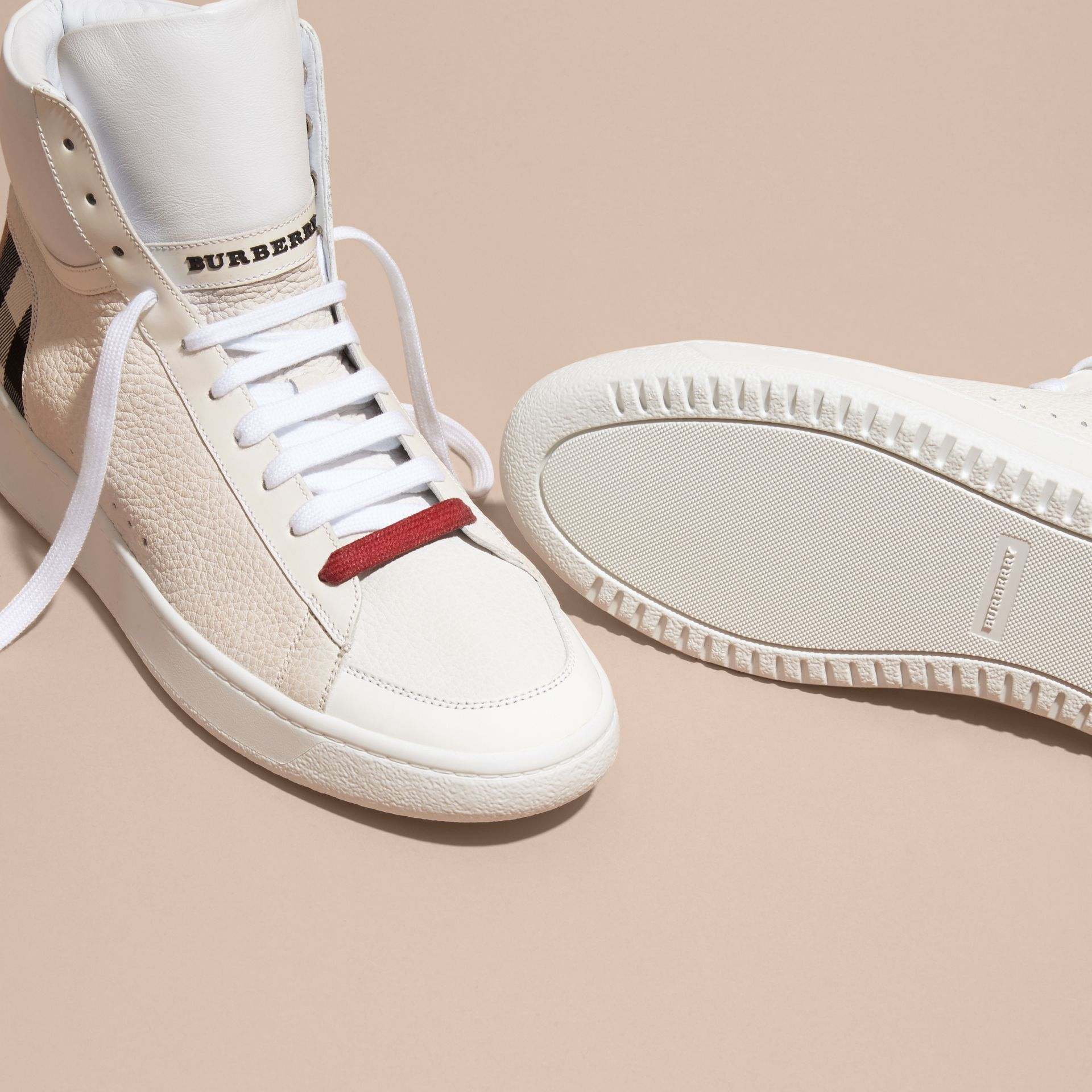 House check/optic white Check Detail Leather High-top Trainers House Check/optic White - gallery image 5