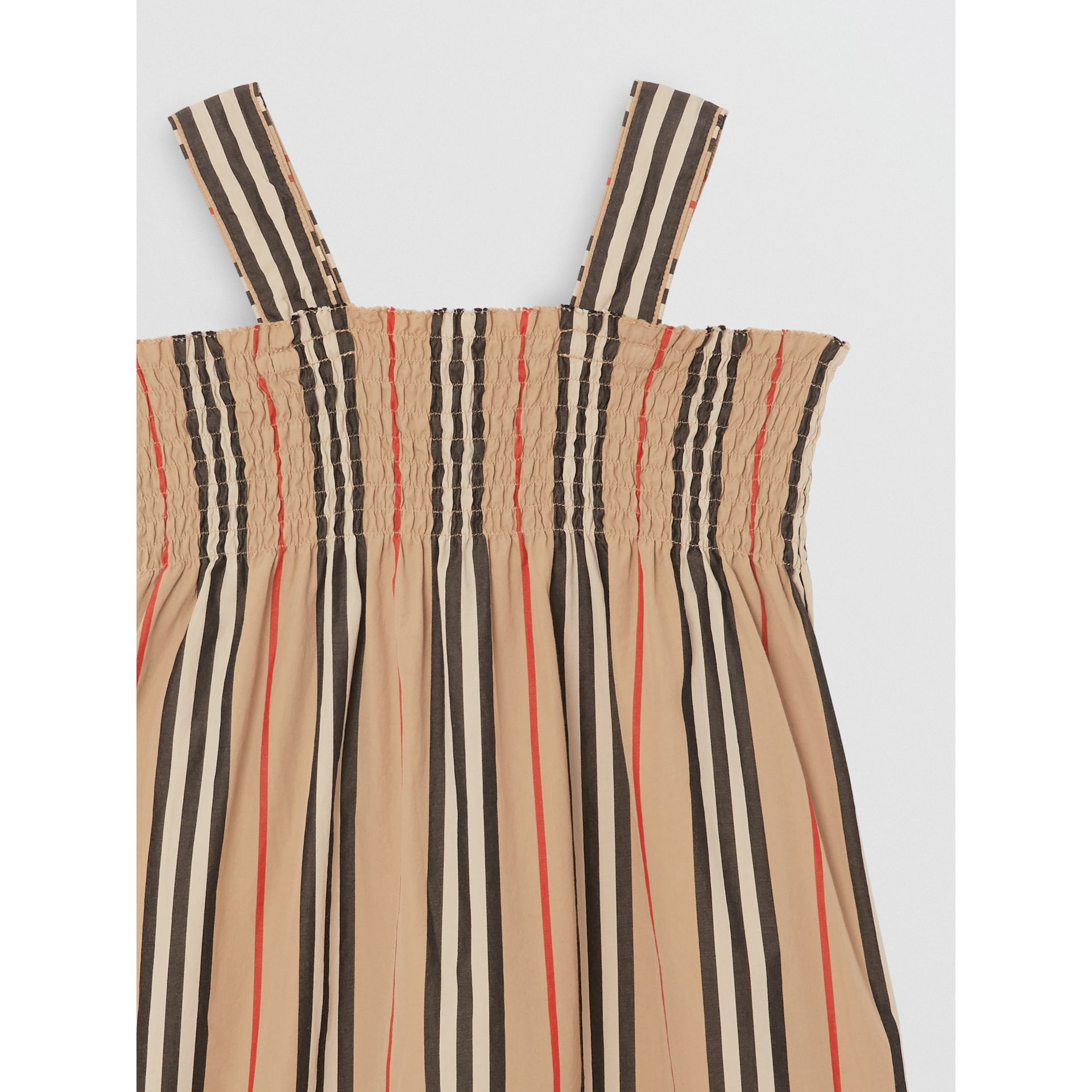 Smocked Icon Stripe Cotton Dress in Archive Beige | Burberry - gallery image 4