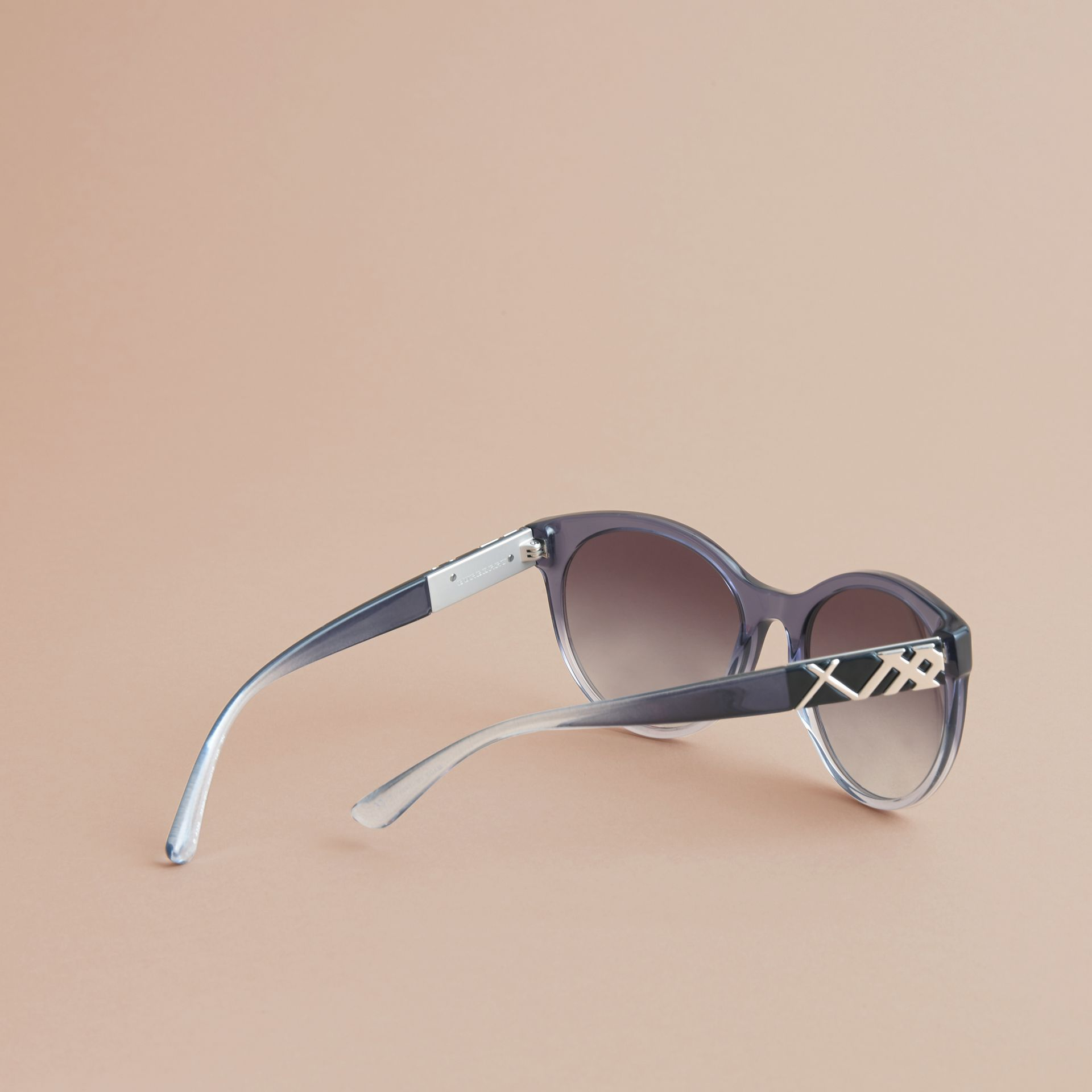 Check Detail Round Frame Sunglasses Blue - gallery image 4