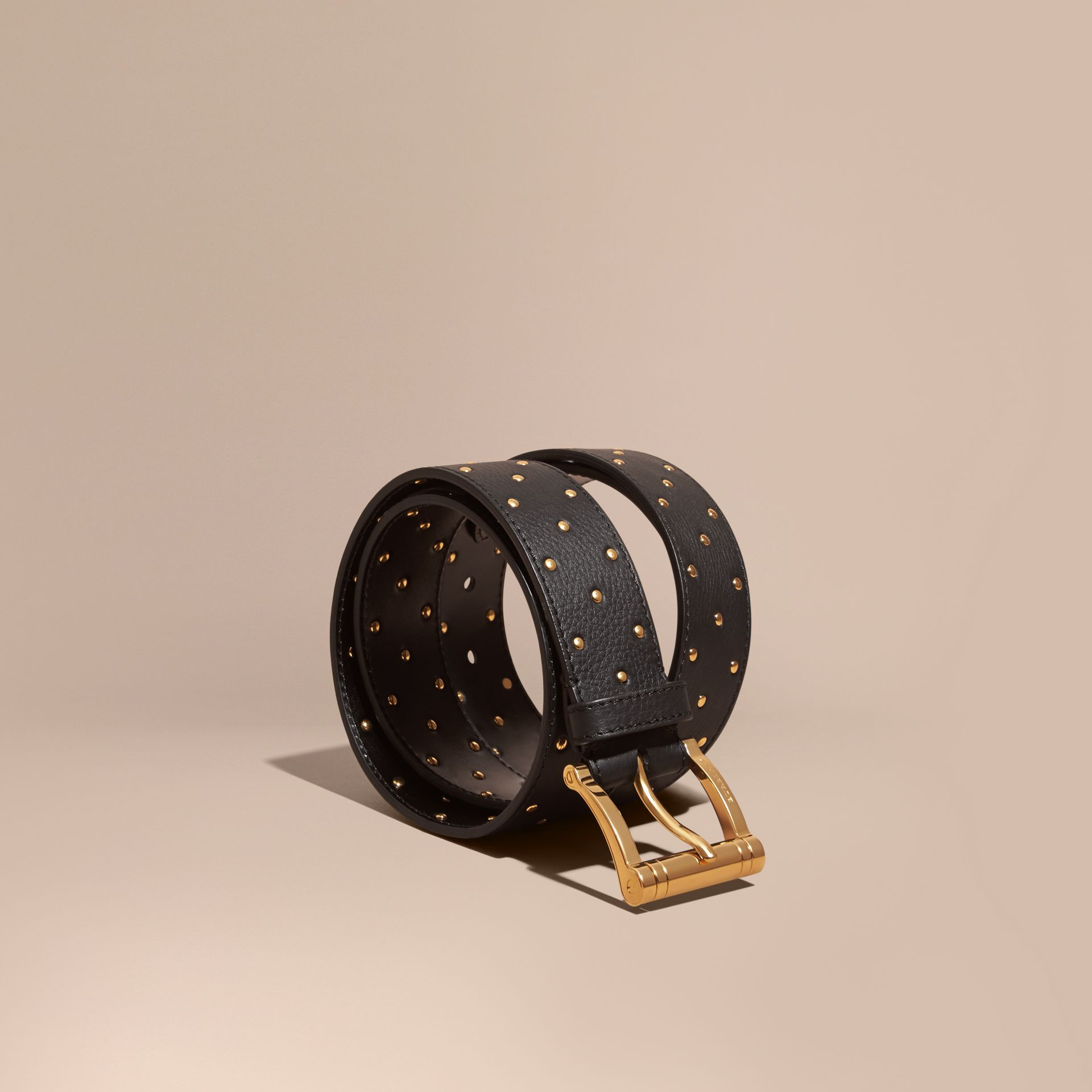 Black Riveted Grainy Leather Belt - gallery image 1