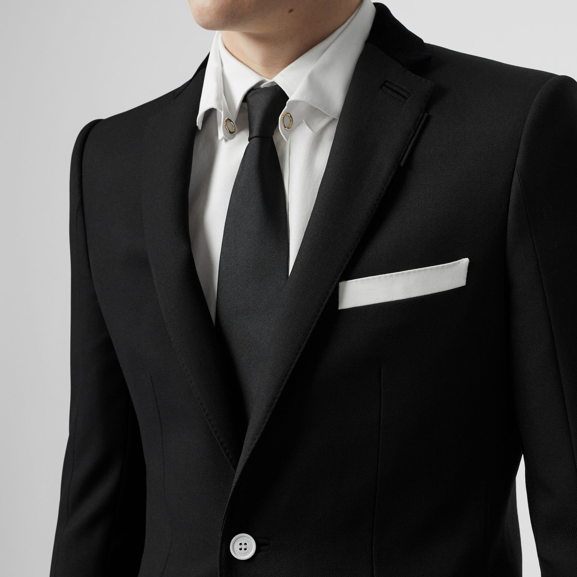 English Fit Velvet Collar Wool Tailored Jacket in Black - Men | Burberry - gallery image 6