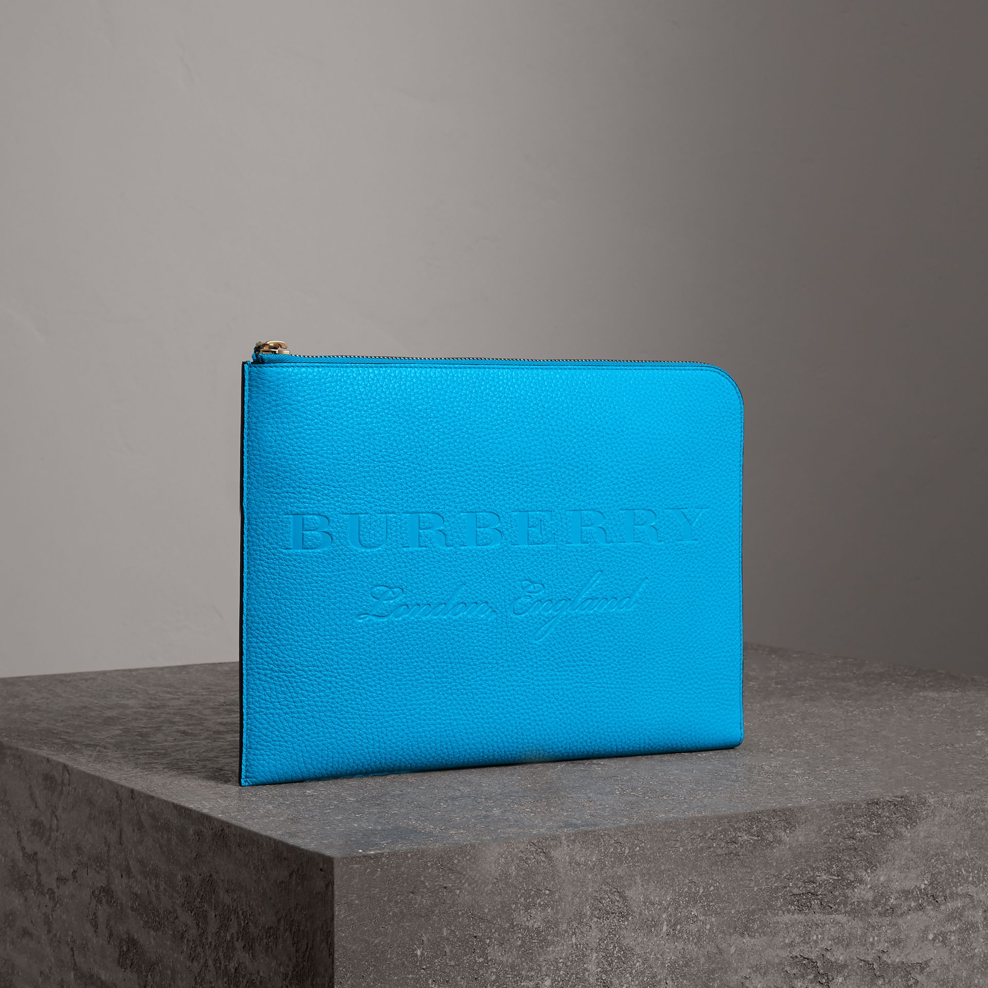 Embossed Leather Document Case in Neon Blue - Men | Burberry United Kingdom - gallery image 1