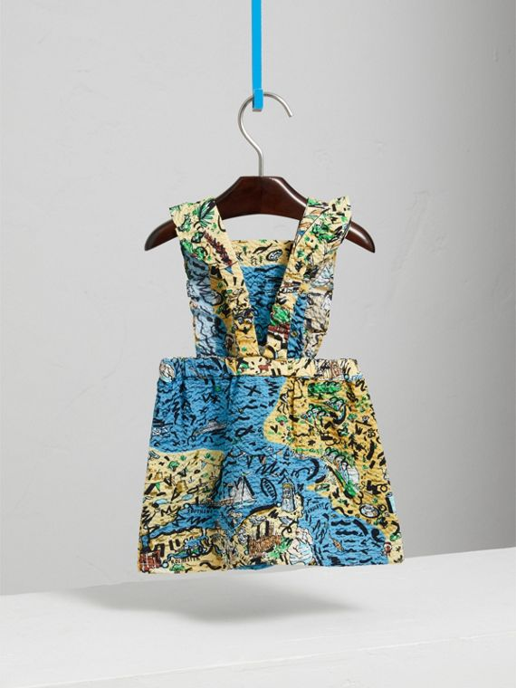 Seaside Print Seersucker Dress in Sand | Burberry - cell image 3
