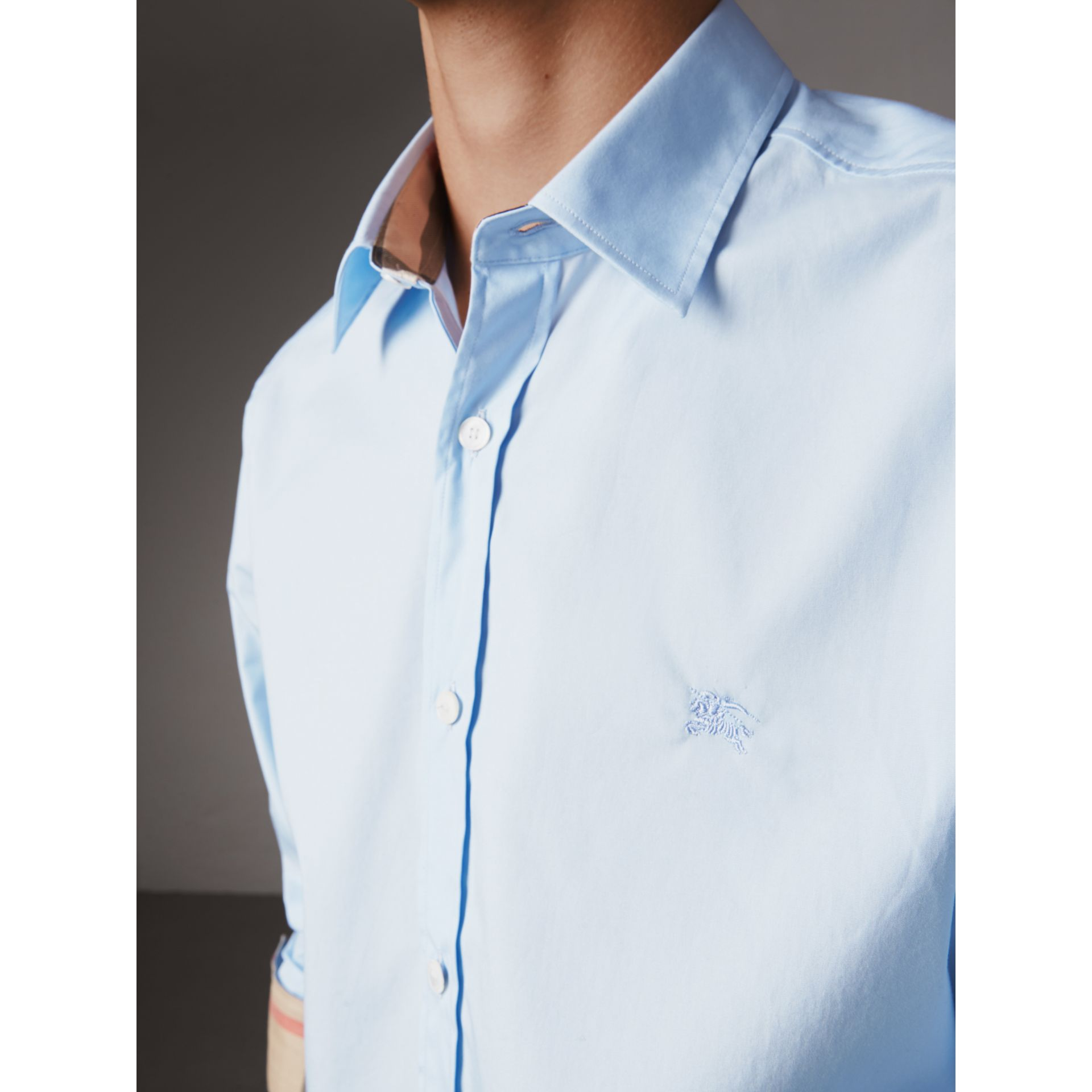 Check Detail Stretch Cotton Poplin Shirt in Pale Blue - Men | Burberry United States - gallery image 1