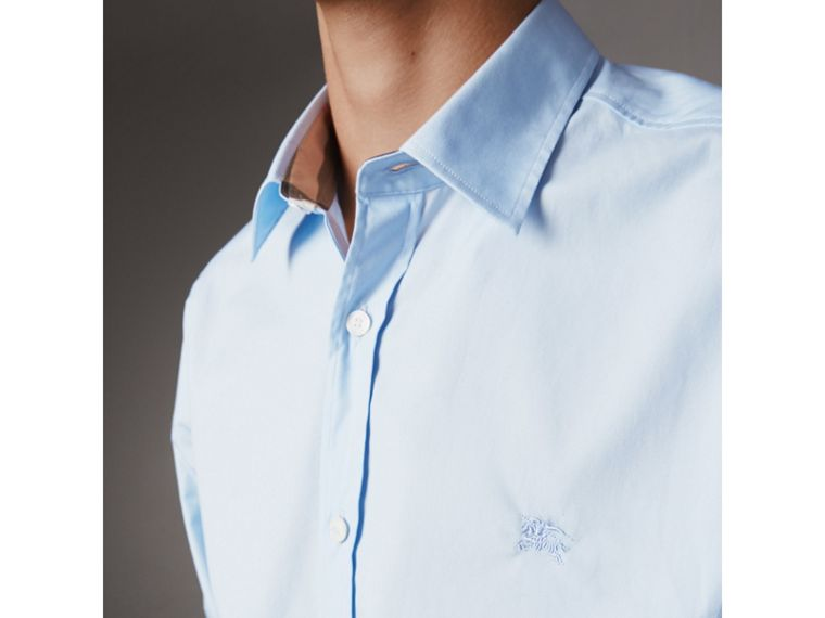 Check Detail Stretch Cotton Poplin Shirt in Pale Blue - Men | Burberry United States - cell image 1