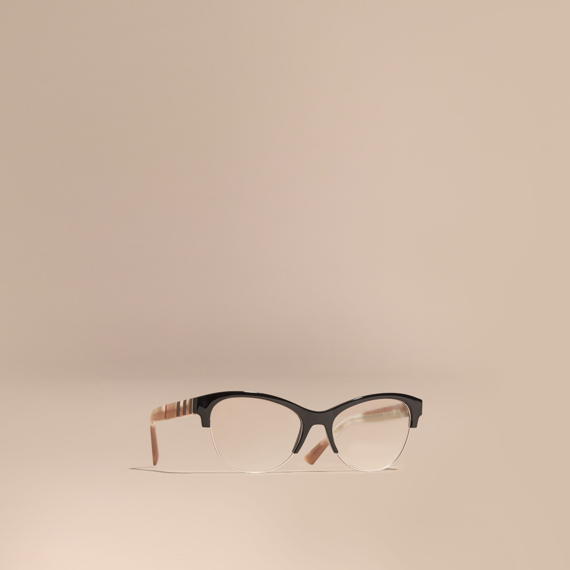 Black Half-rimmed Cat-eye Optical Frames Black - gallery image 1