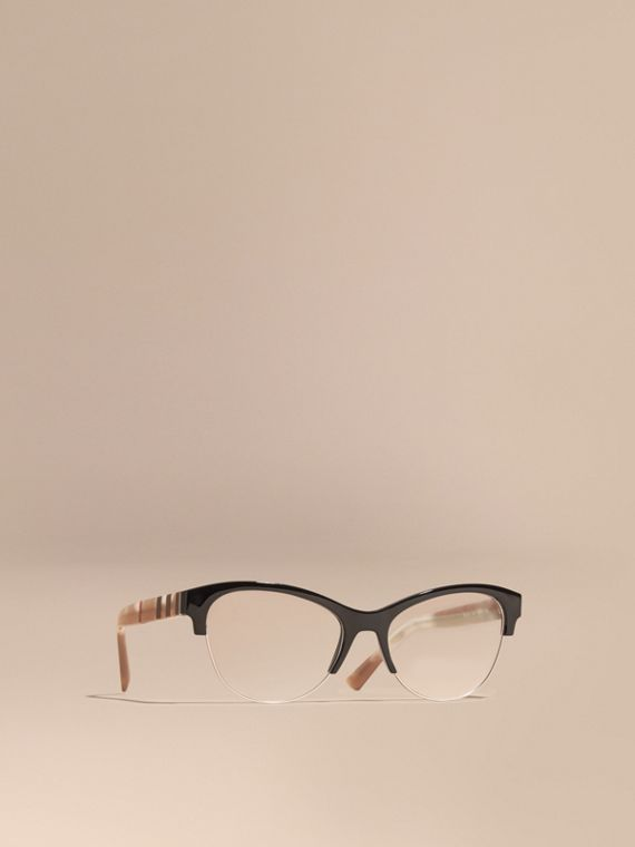 Half-rimmed Cat-eye Optical Frames Black
