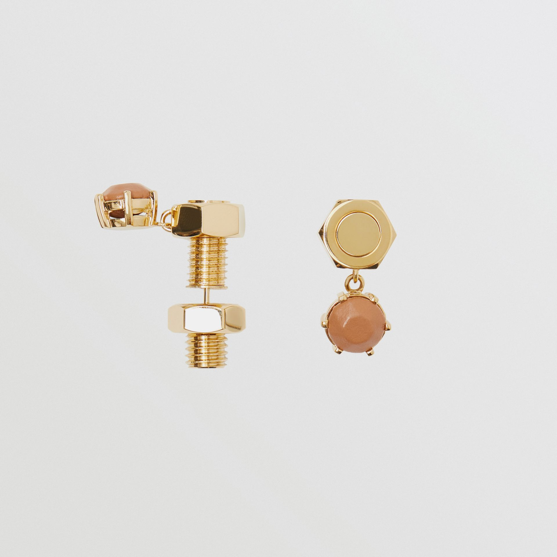 Leather Charm Gold-plated Nut and Bolt Earrings in Nutmeg/light - Women | Burberry Hong Kong S.A.R - gallery image 3