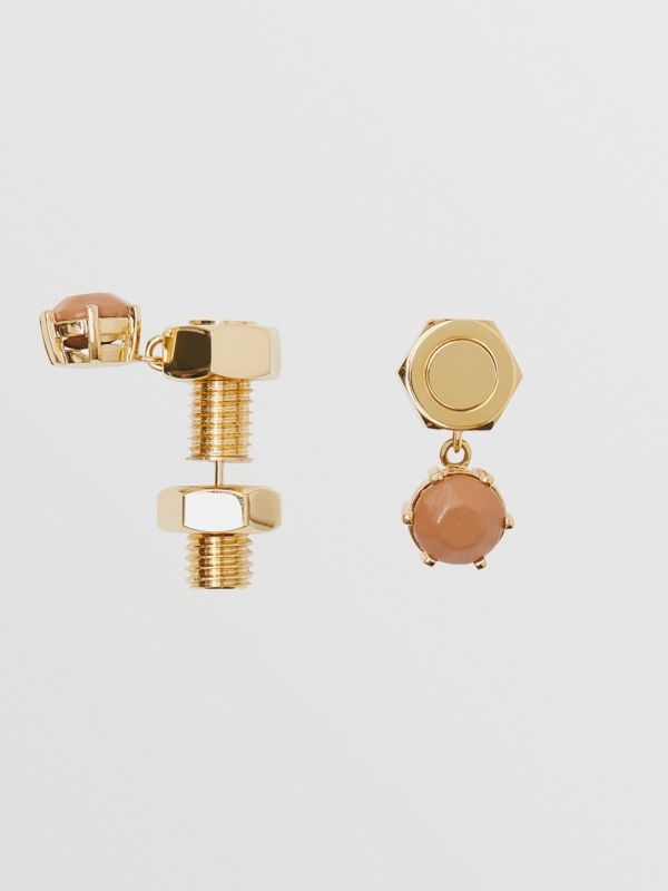 Leather Charm Gold-plated Nut and Bolt Earrings in Nutmeg/light - Women | Burberry - cell image 3