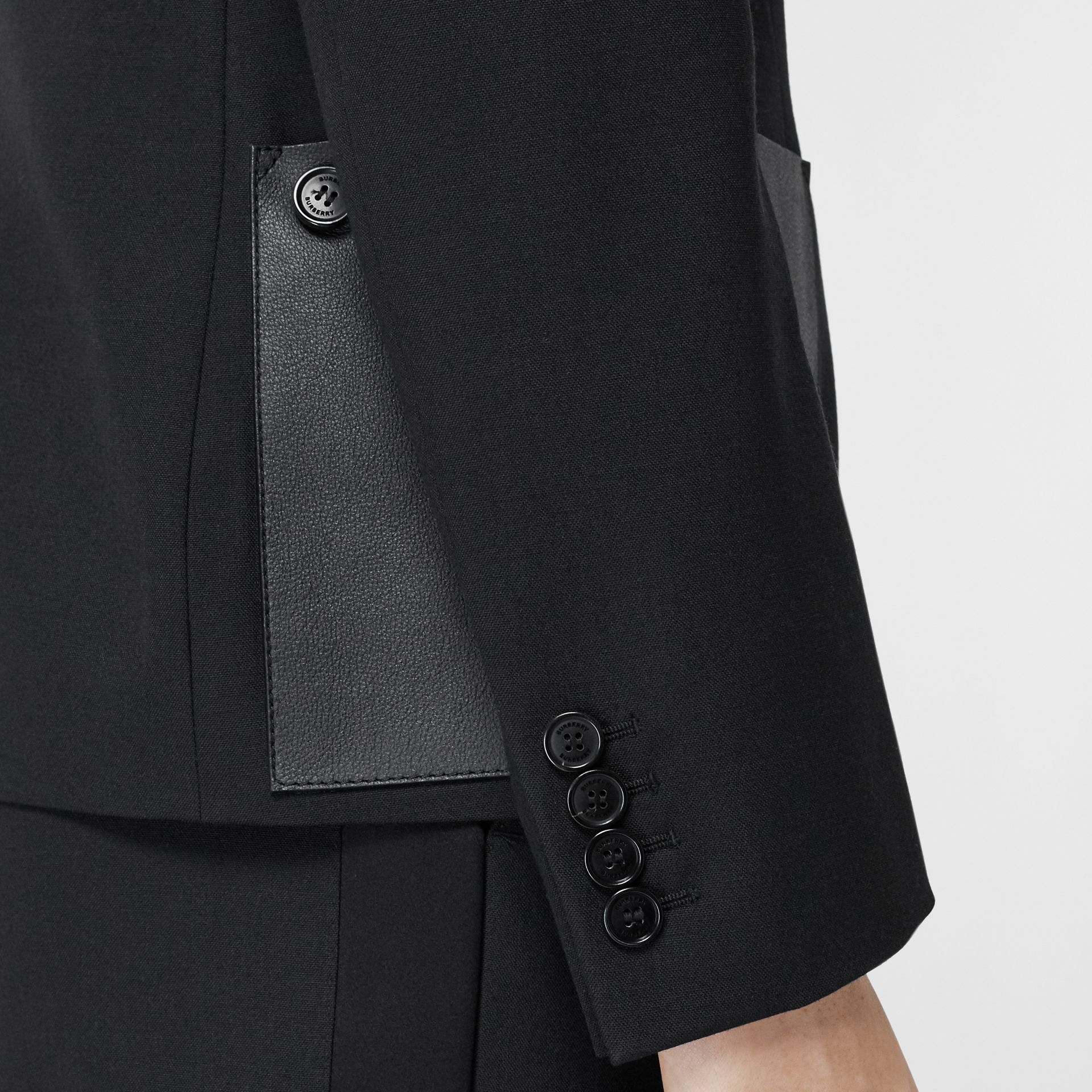 Leather Detail Wool Tailored Jacket in Black - Women | Burberry - gallery image 4
