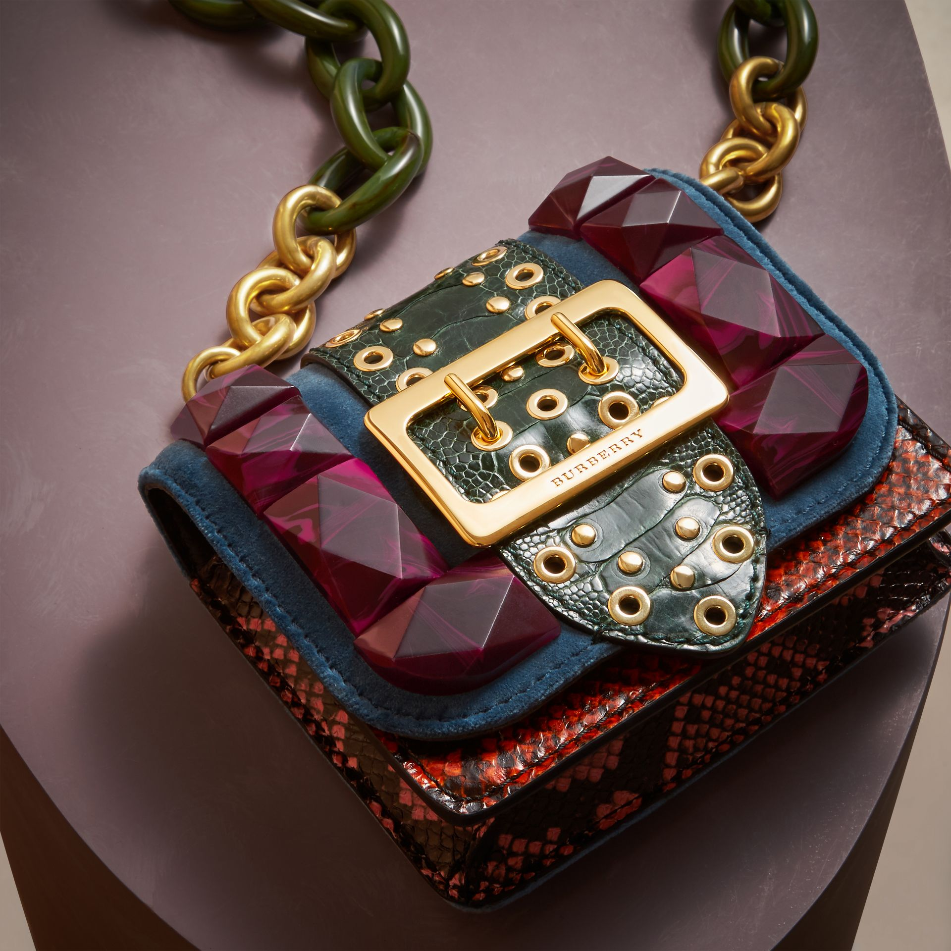 The Mini Square Buckle Bag in Velvet and Ostrich - Women | Burberry - gallery image 6