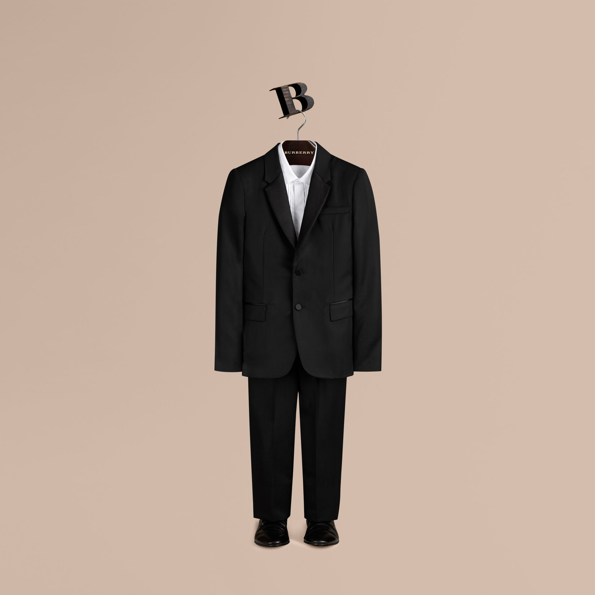 Black Wool Tuxedo Jacket - gallery image 1