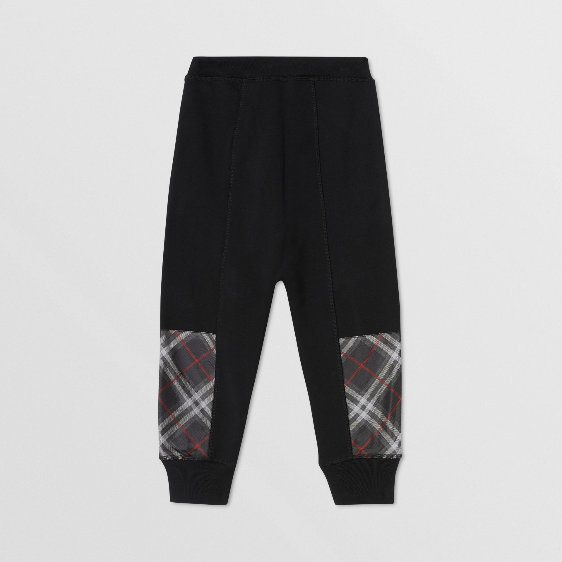 Vintage Check Panel Cotton Trackpants in Black - Boy | Burberry - gallery image 3