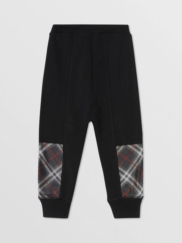 Vintage Check Panel Cotton Trackpants in Black - Boy | Burberry - cell image 3