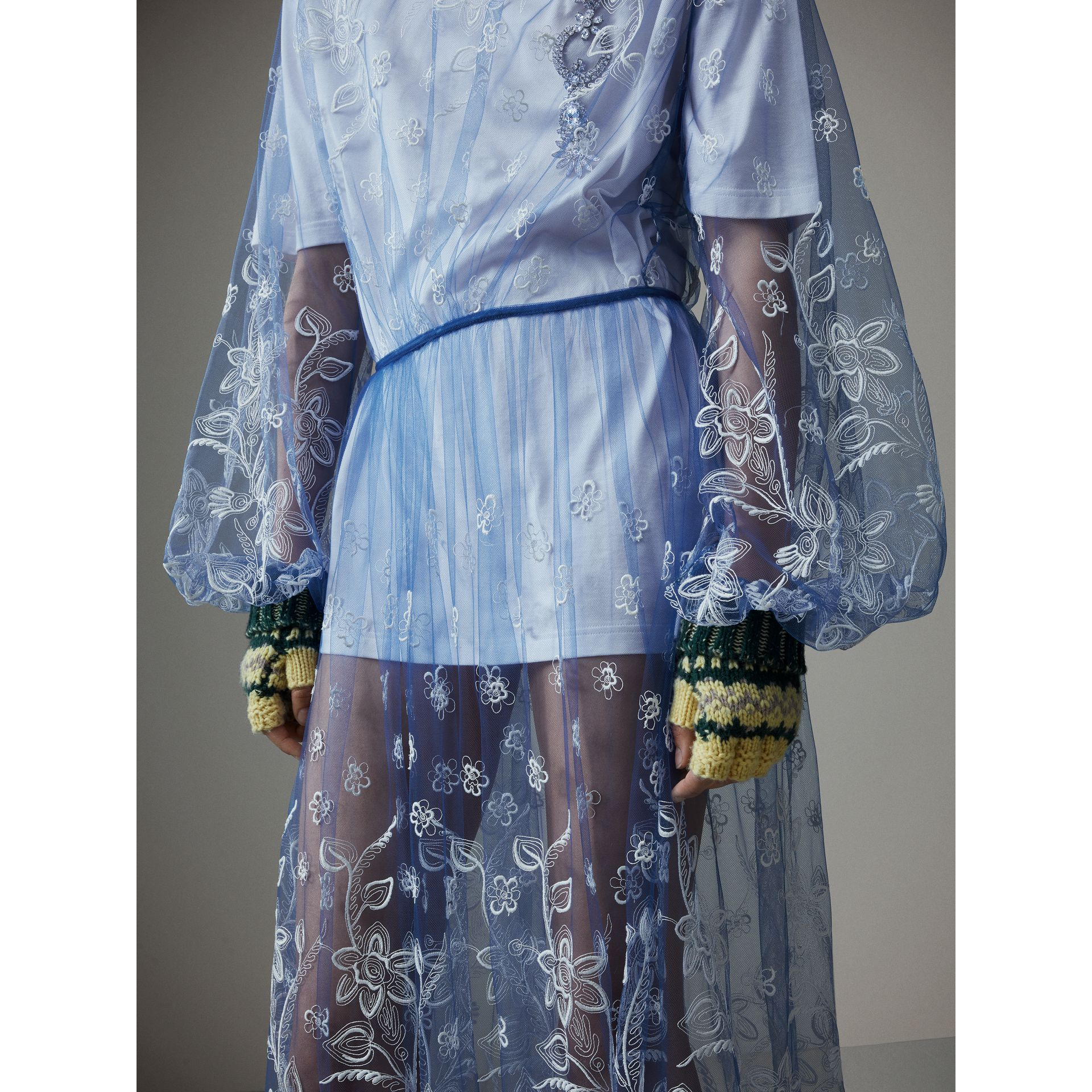 Puff-sleeve Embroidered Tulle Dress in Hydrangea Blue/white - Women | Burberry Hong Kong - gallery image 1