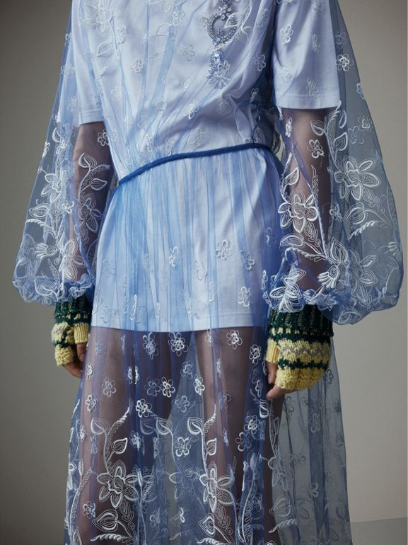 Puff-sleeve Embroidered Tulle Dress in Hydrangea Blue/white - Women | Burberry United Kingdom - cell image 1