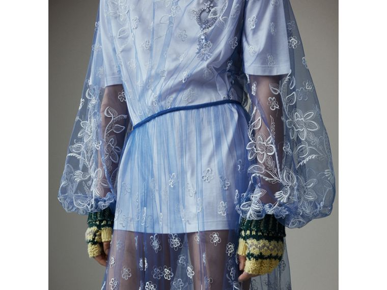 Puff-sleeve Embroidered Tulle Dress in Hydrangea Blue/white - Women | Burberry Hong Kong - cell image 1