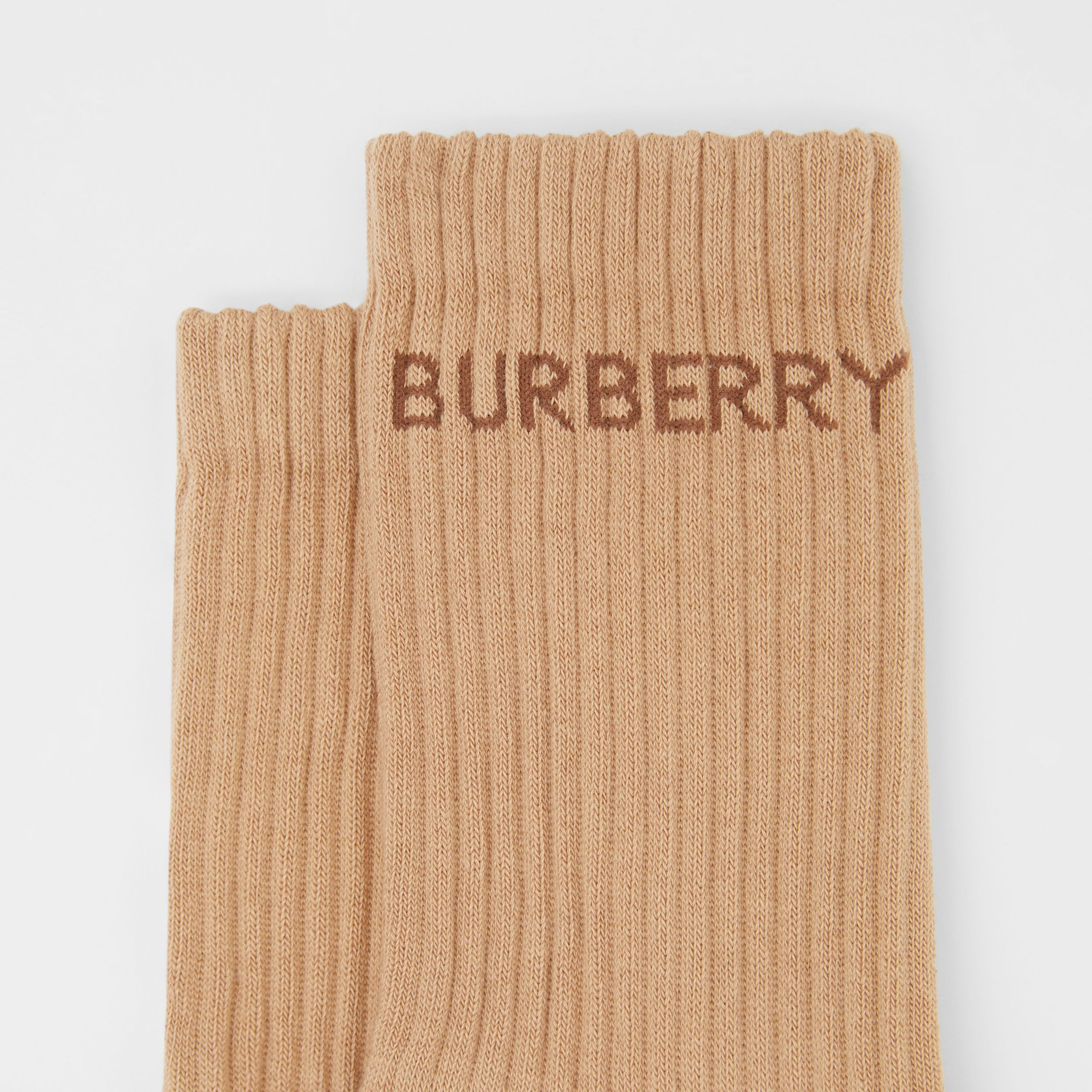 Logo Intarsia Technical Stretch Cotton Socks in Camel | Burberry - 2