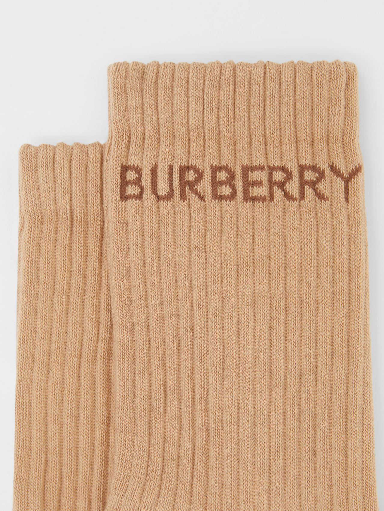 Logo Intarsia Technical Stretch Cotton Socks in Camel