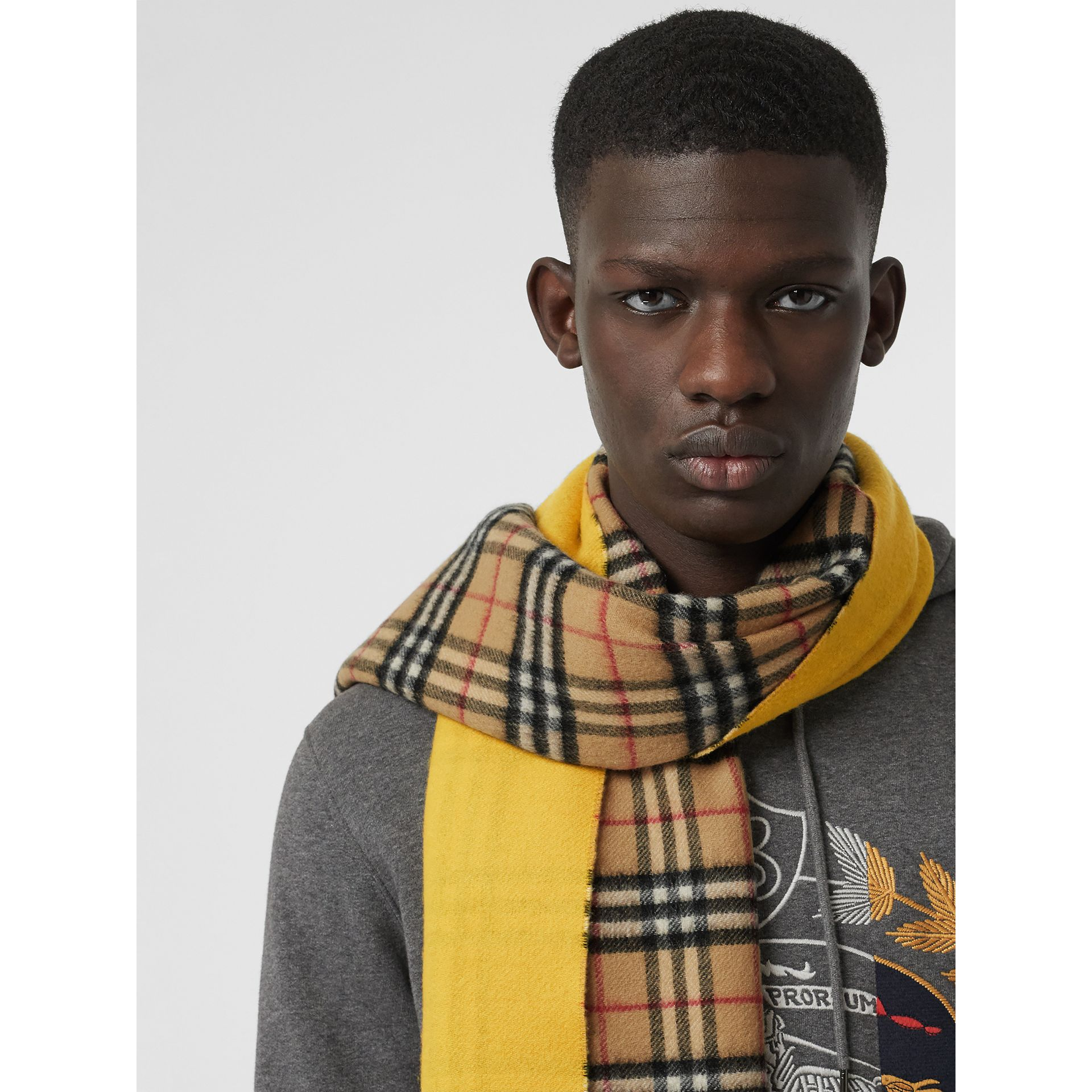Colour Block Vintage Check Cashmere Scarf in Gorse Yellow | Burberry - gallery image 6