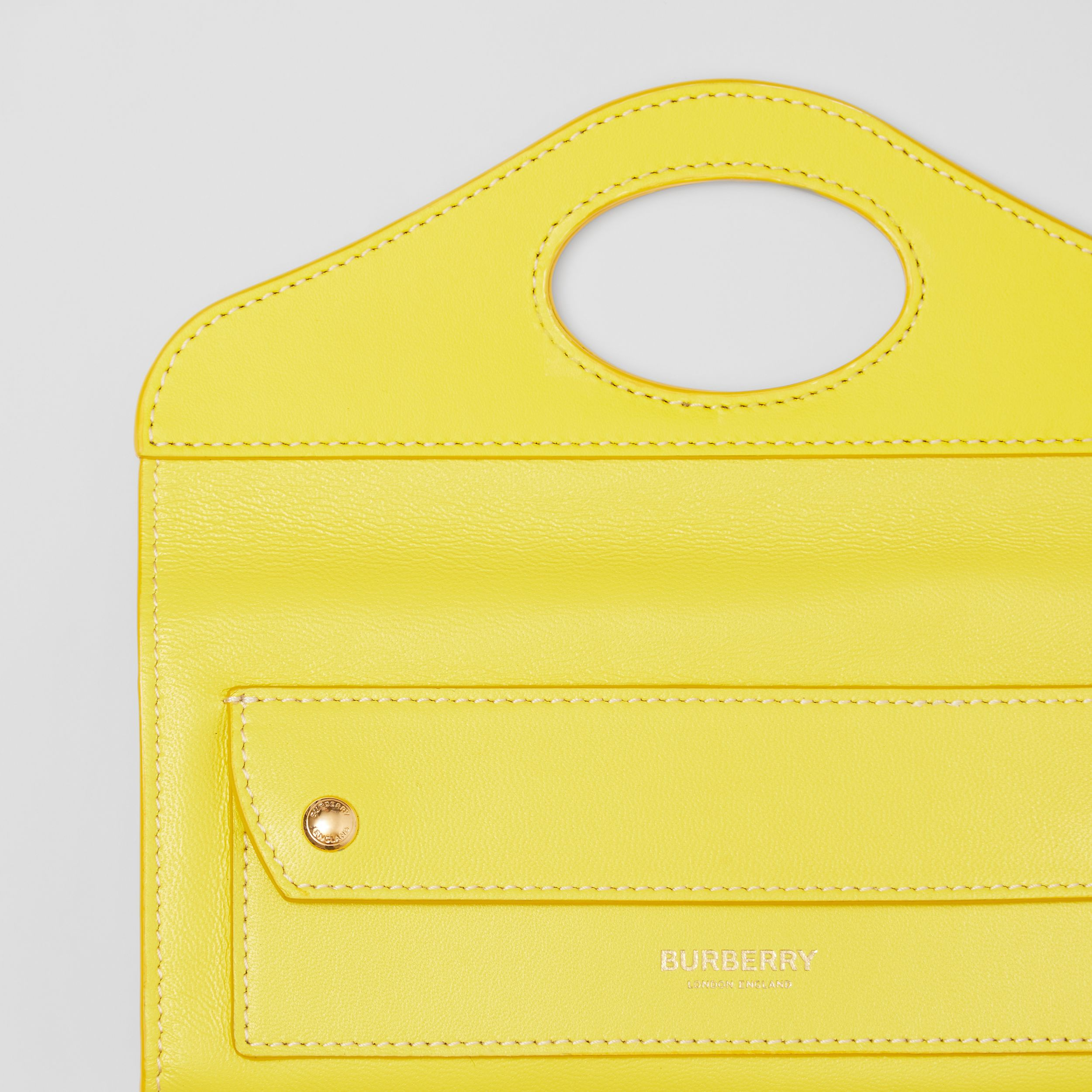 Mini Topstitched Lambskin Pocket Clutch in Marigold Yellow - Women | Burberry - 2