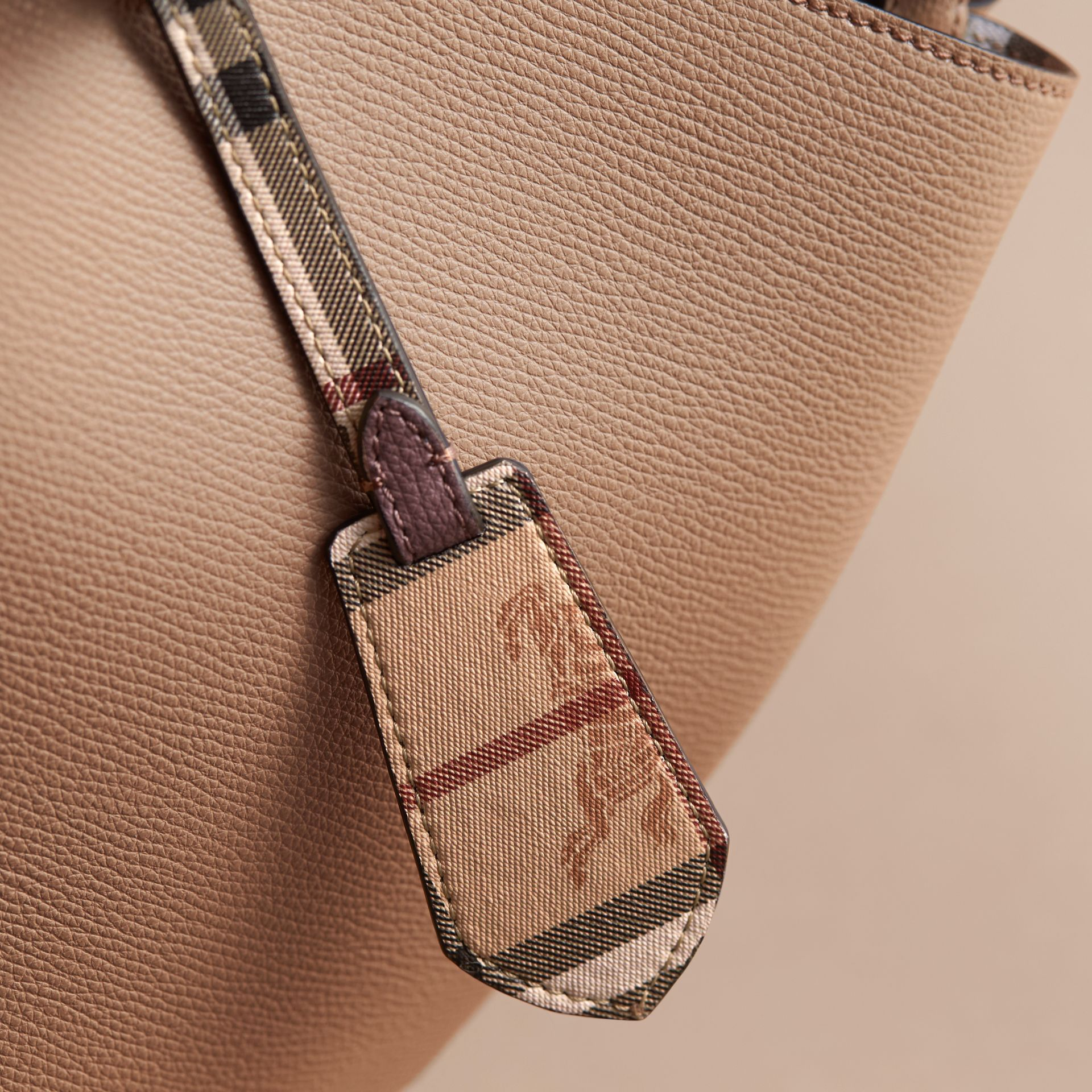 Leather and Haymarket Check Crossbody Bucket Bag in Mid Camel - Women | Burberry - gallery image 2