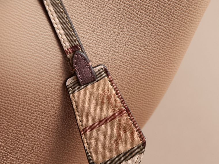 Leather and Haymarket Check Crossbody Bucket Bag in Mid Camel - Women | Burberry - cell image 1
