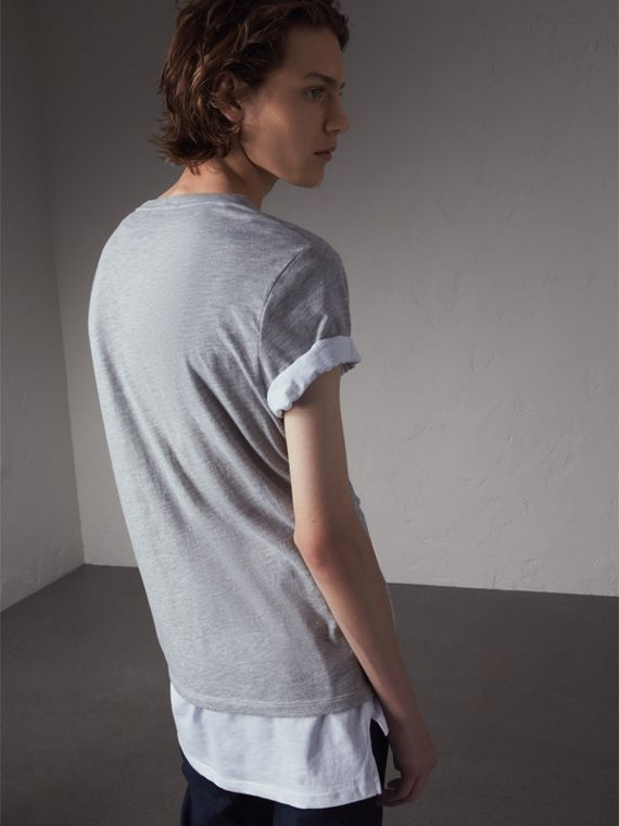 Devoré Cotton Jersey T-shirt in Pale Grey Melange - Men | Burberry - cell image 2