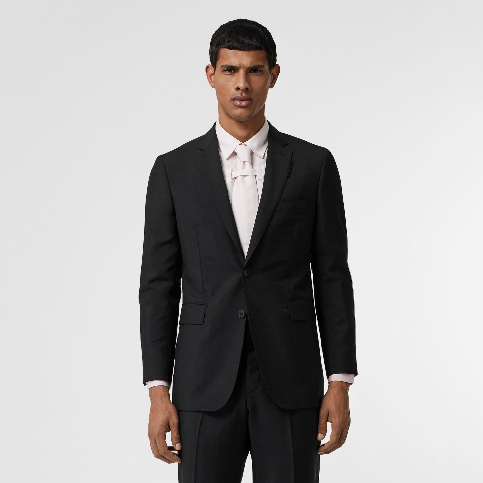 Slim Fit Wool Mohair Suit in Black - Men | Burberry Canada - gallery image 0