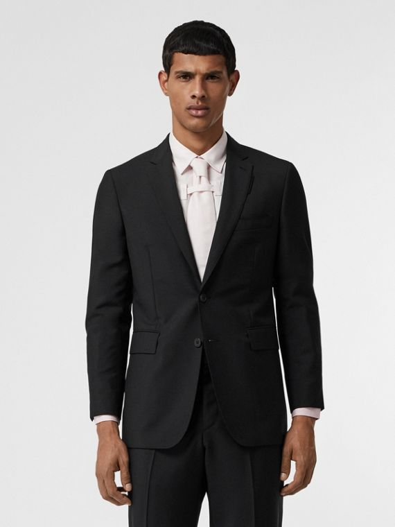 Slim Fit Wool Mohair Suit in Black