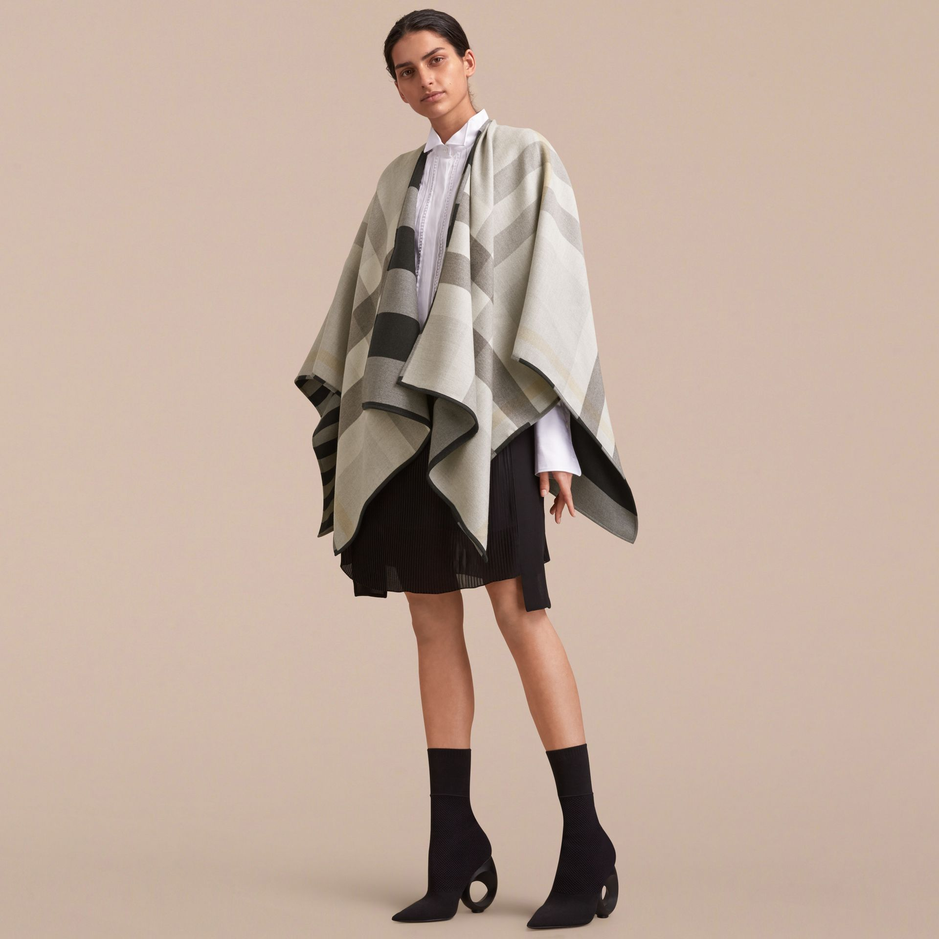 Reversible Stripe and Check Merino Wool Poncho in Grey - Women | Burberry - gallery image 6
