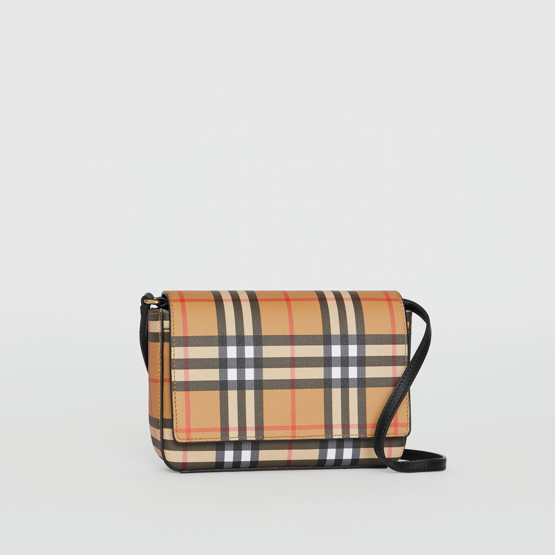 Vintage Check and Leather Wallet with Detachable Strap in Black - Women | Burberry Canada - gallery image 4