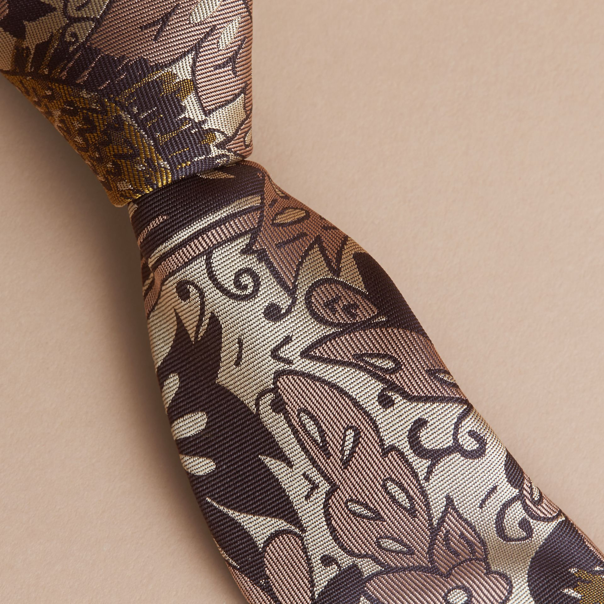 Slim Cut Beasts Silk Jacquard Tie in Antique Taupe Pink - Men | Burberry - gallery image 2