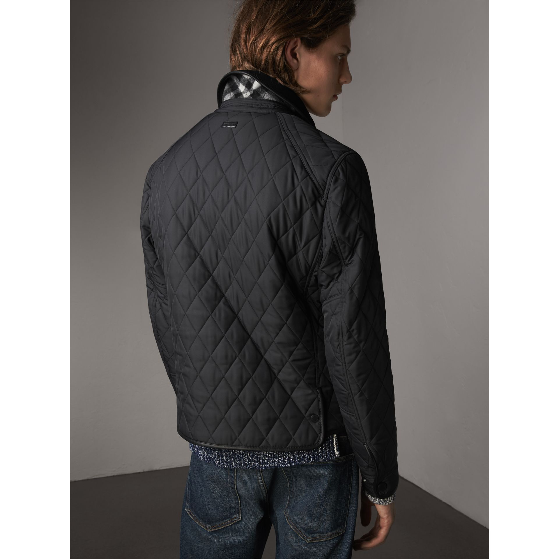 Leather Piping Corduroy Collar Quilted Jacket - Men | Burberry - gallery image 3