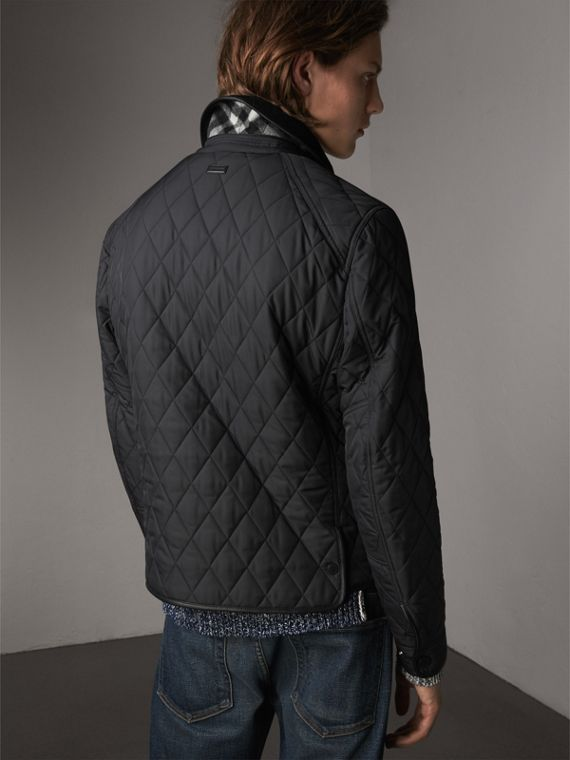 Leather Piping Corduroy Collar Quilted Jacket in Black - Men | Burberry - cell image 2