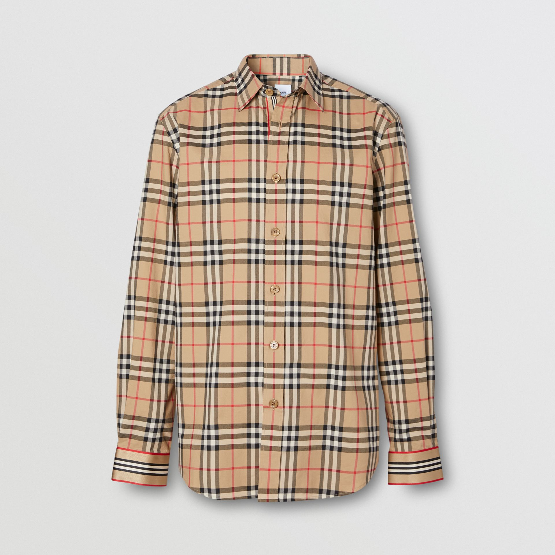 Icon Stripe Cuff Vintage Check Cotton Shirt in Archive Beige - Men | Burberry - gallery image 3