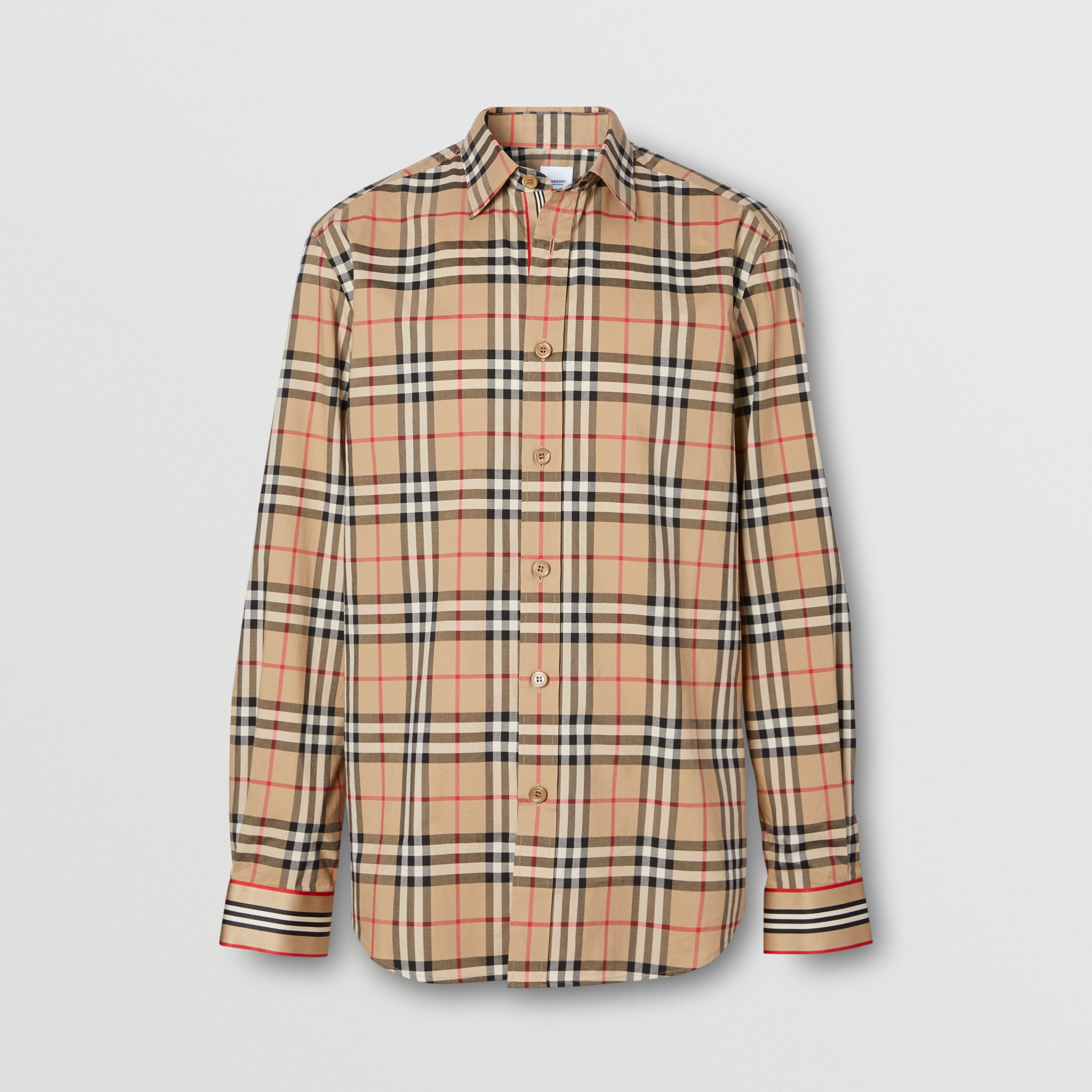 Icon Stripe Cuff Vintage Check Cotton Shirt in Archive Beige - Men | Burberry - 4