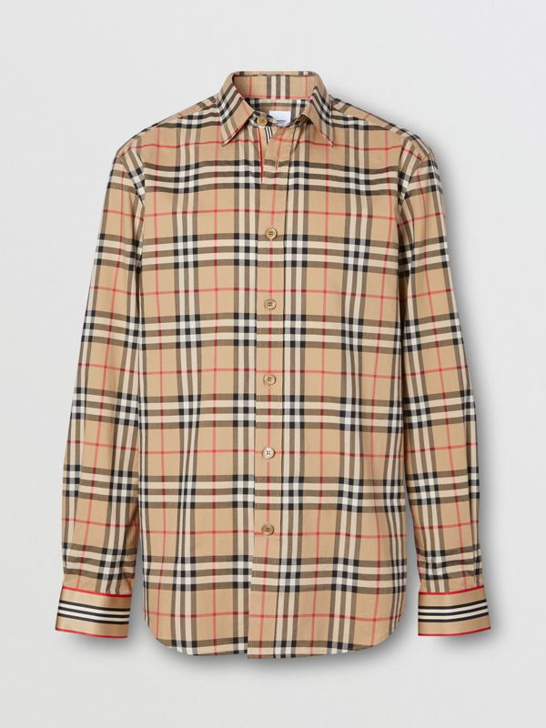 Icon Stripe Cuff Vintage Check Cotton Shirt in Archive Beige - Men | Burberry - cell image 3