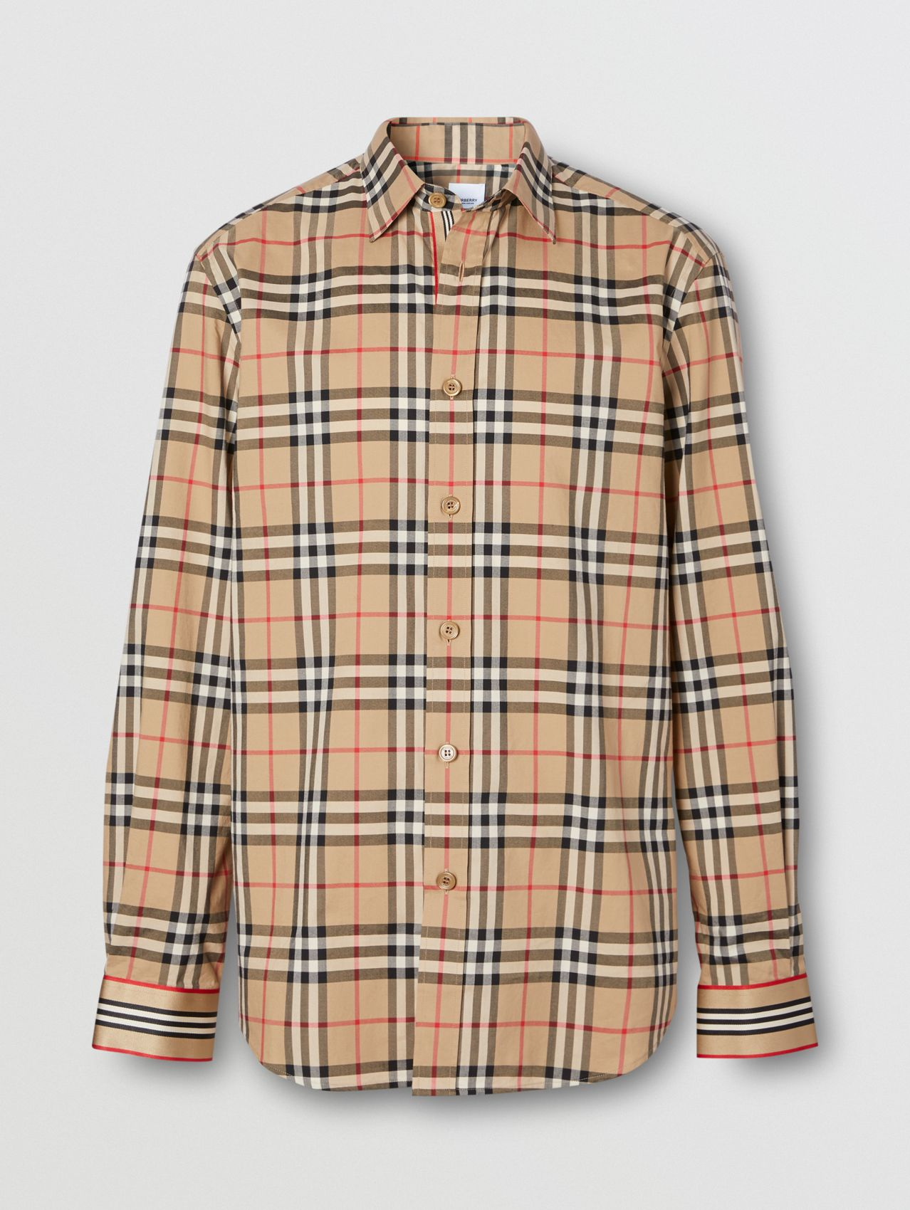 Icon Stripe Cuff Vintage Check Cotton Shirt in Archive Beige