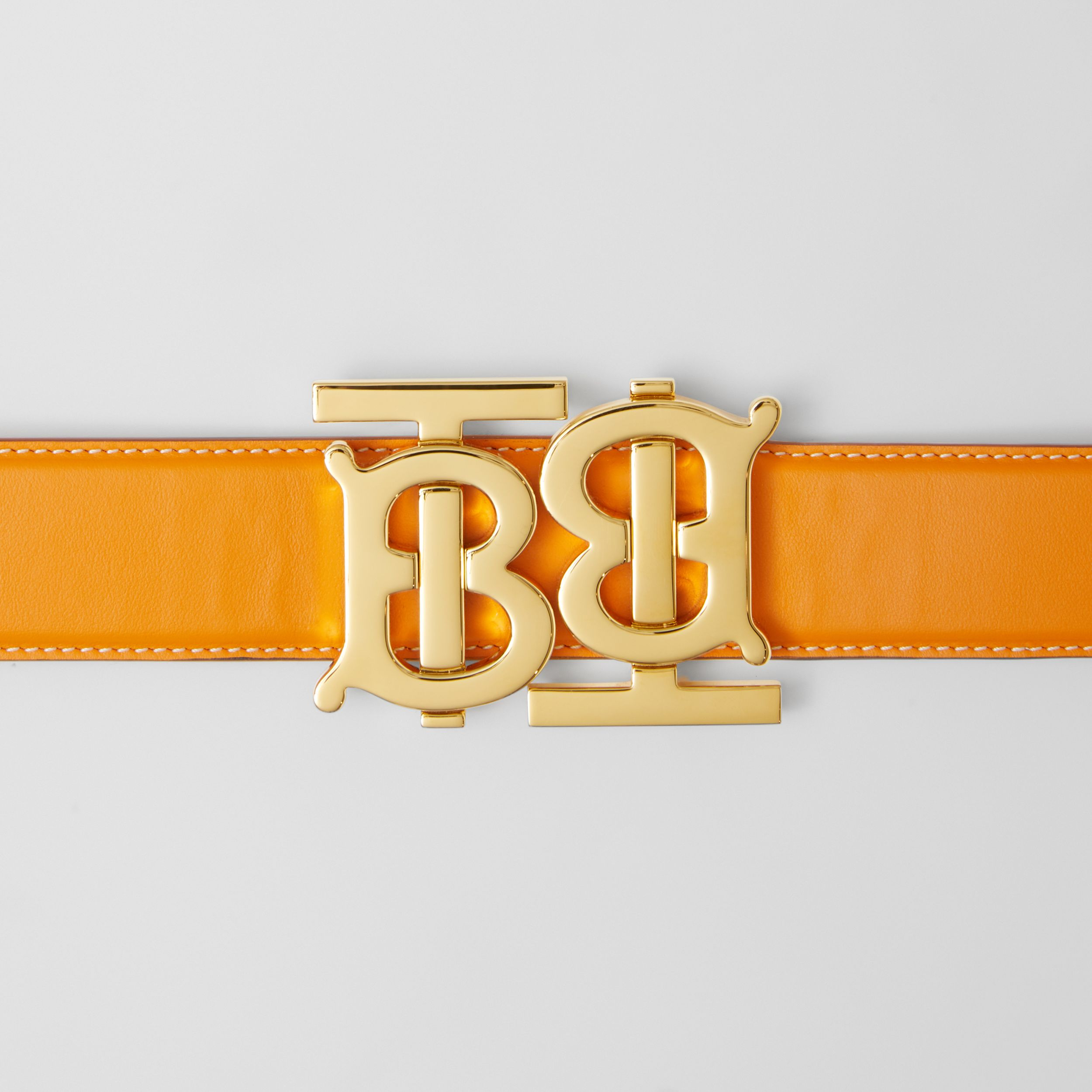 Double Monogram Motif Leather Belt in Deep Orange - Women | Burberry - 2