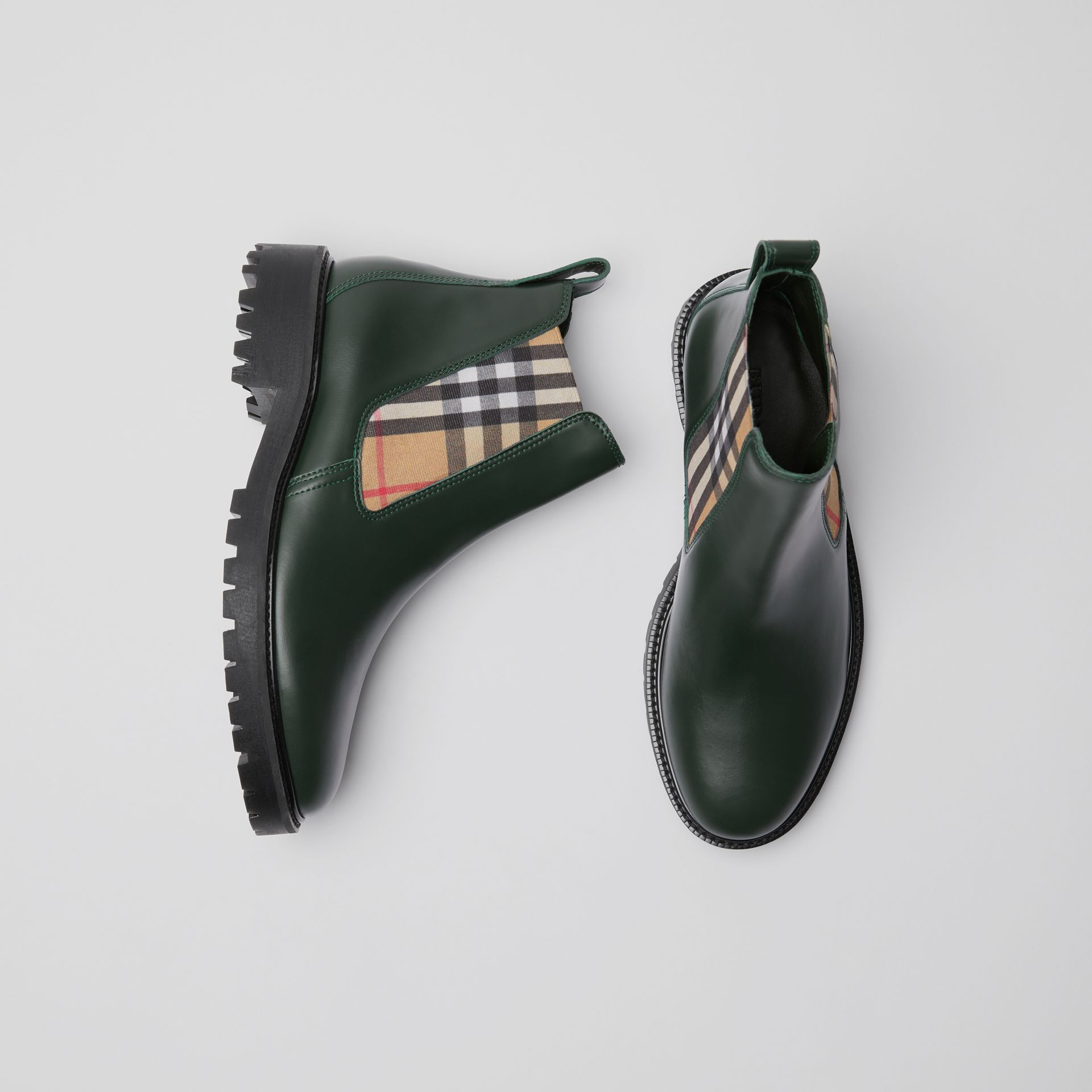 Vintage Check Detail Leather Chelsea Boots in Bottle Green - Women | Burberry - gallery image 6