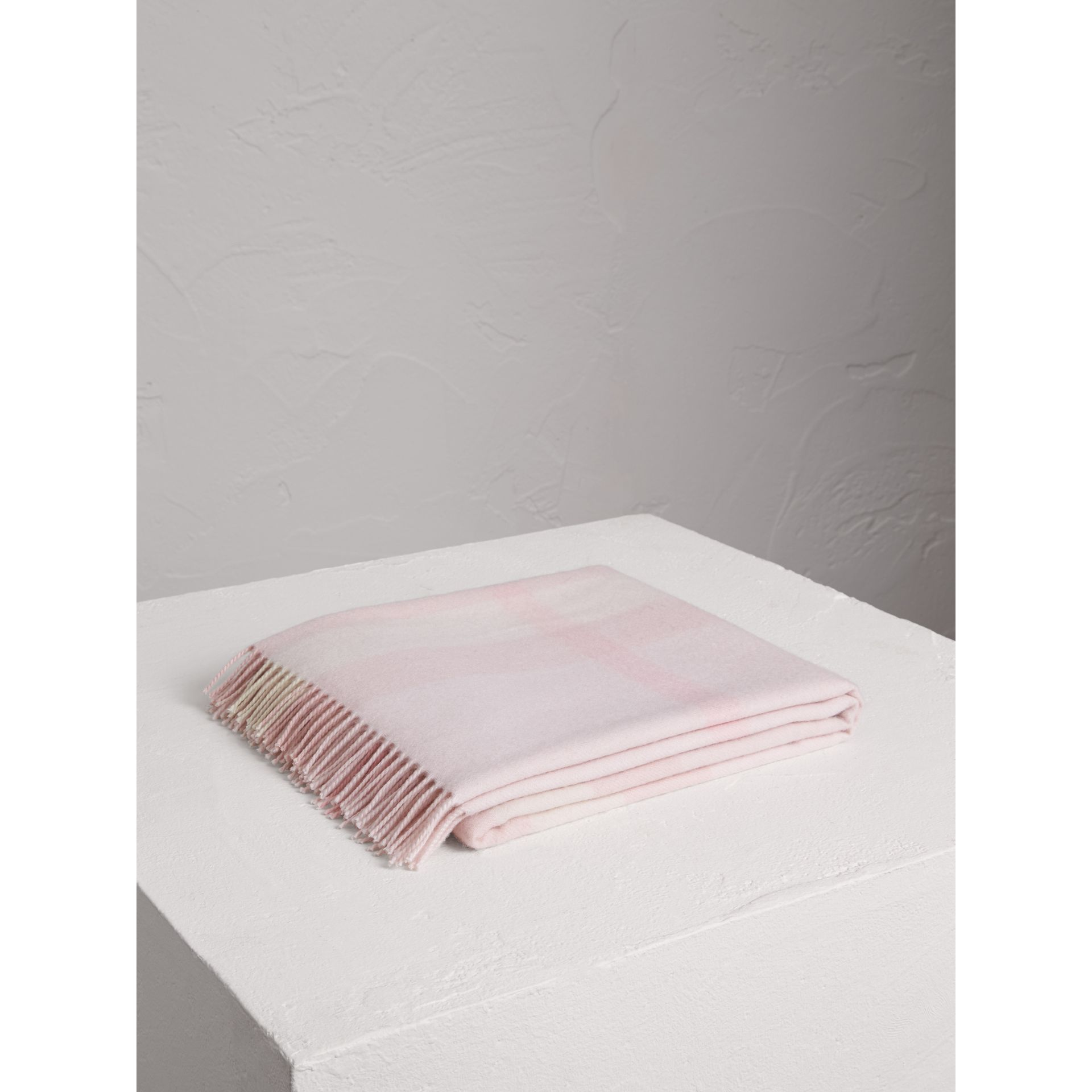 Check Cashmere Baby Blanket in Powder Pink - Children | Burberry - gallery image 1