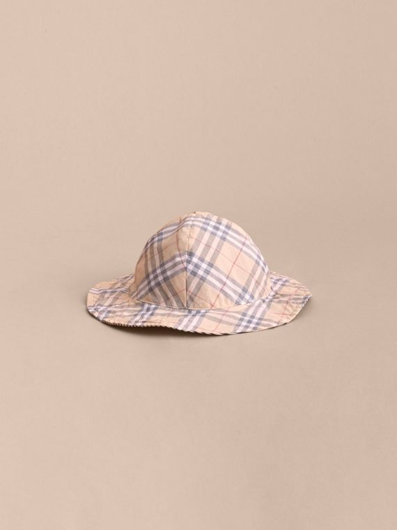 Reversible Stripe and Check Sun Hat in Indigo | Burberry - cell image 2