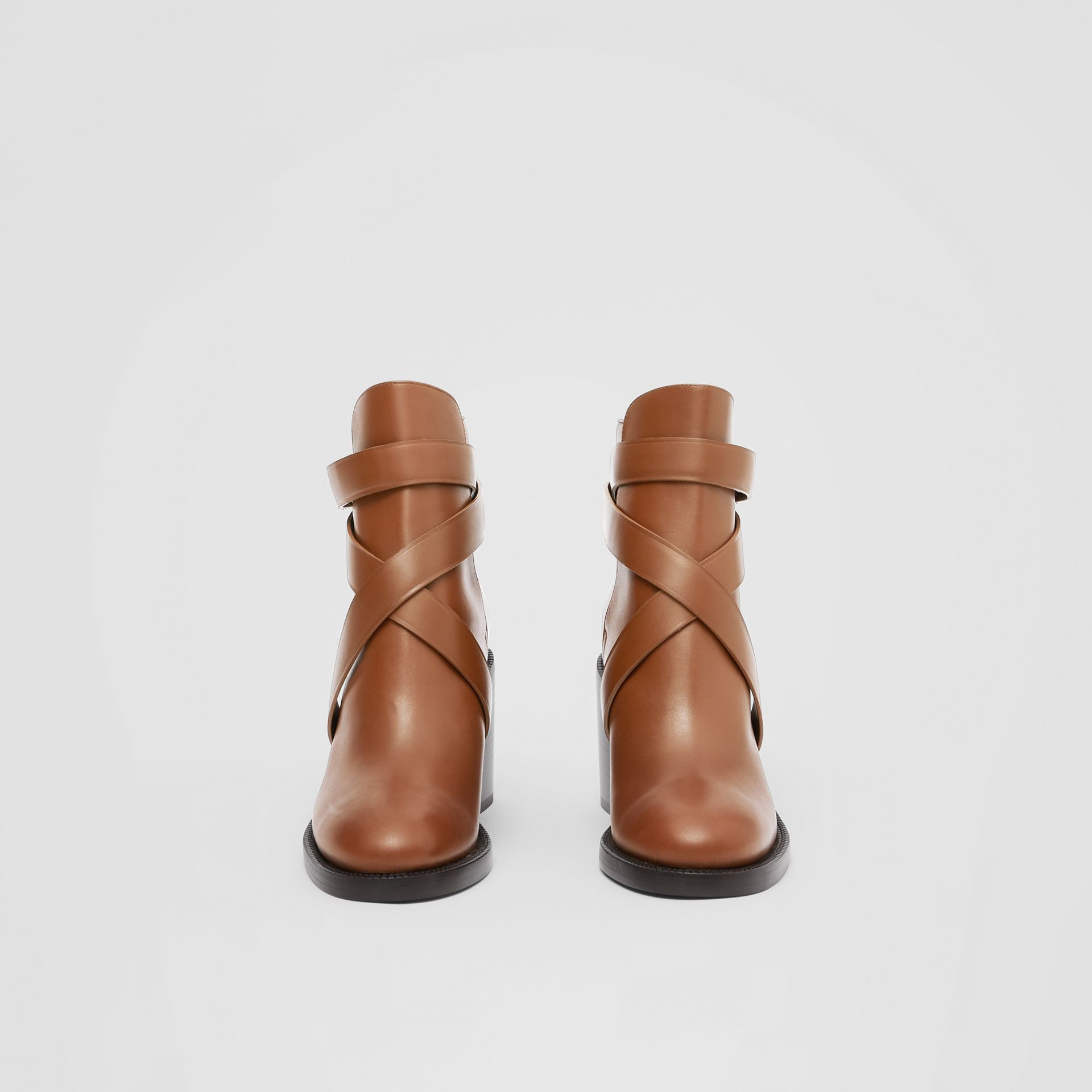 Monogram Motif Leather Ankle Boots in Tan - Women | Burberry - gallery image 2