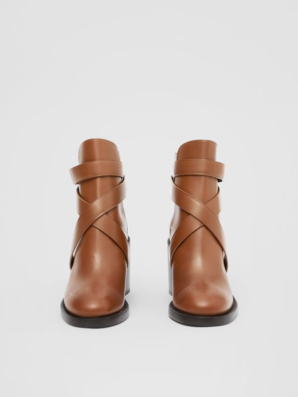 Monogram Motif Leather Ankle Boots in Tan - Women | Burberry Canada - cell image 2