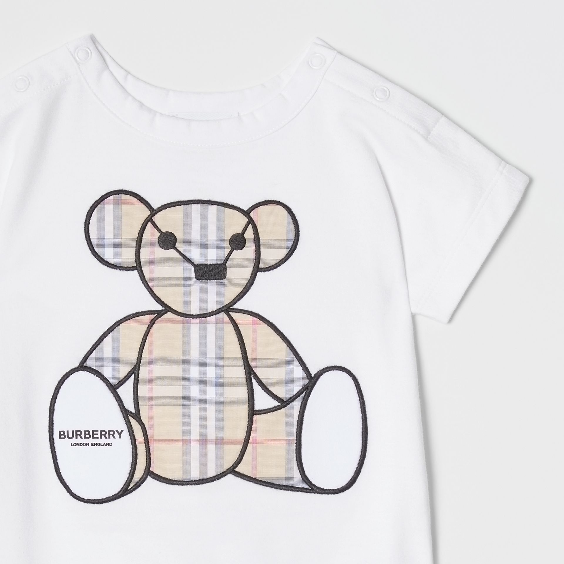 Thomas Bear Appliqué Cotton Jumpsuit in White - Children | Burberry United States - gallery image 4