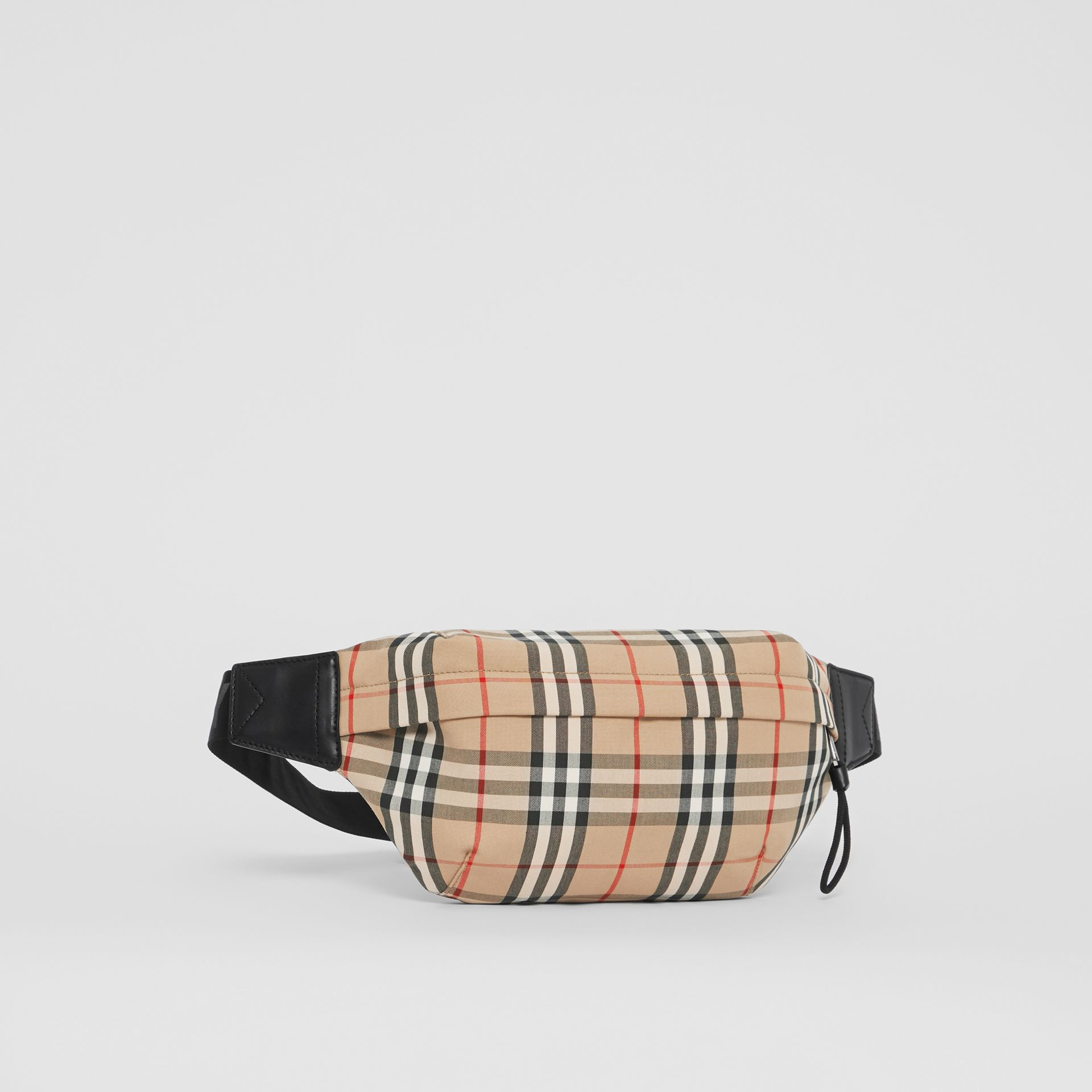 Medium Vintage Check Bonded Cotton Bum Bag in Archive Beige - Men | Burberry - gallery image 6