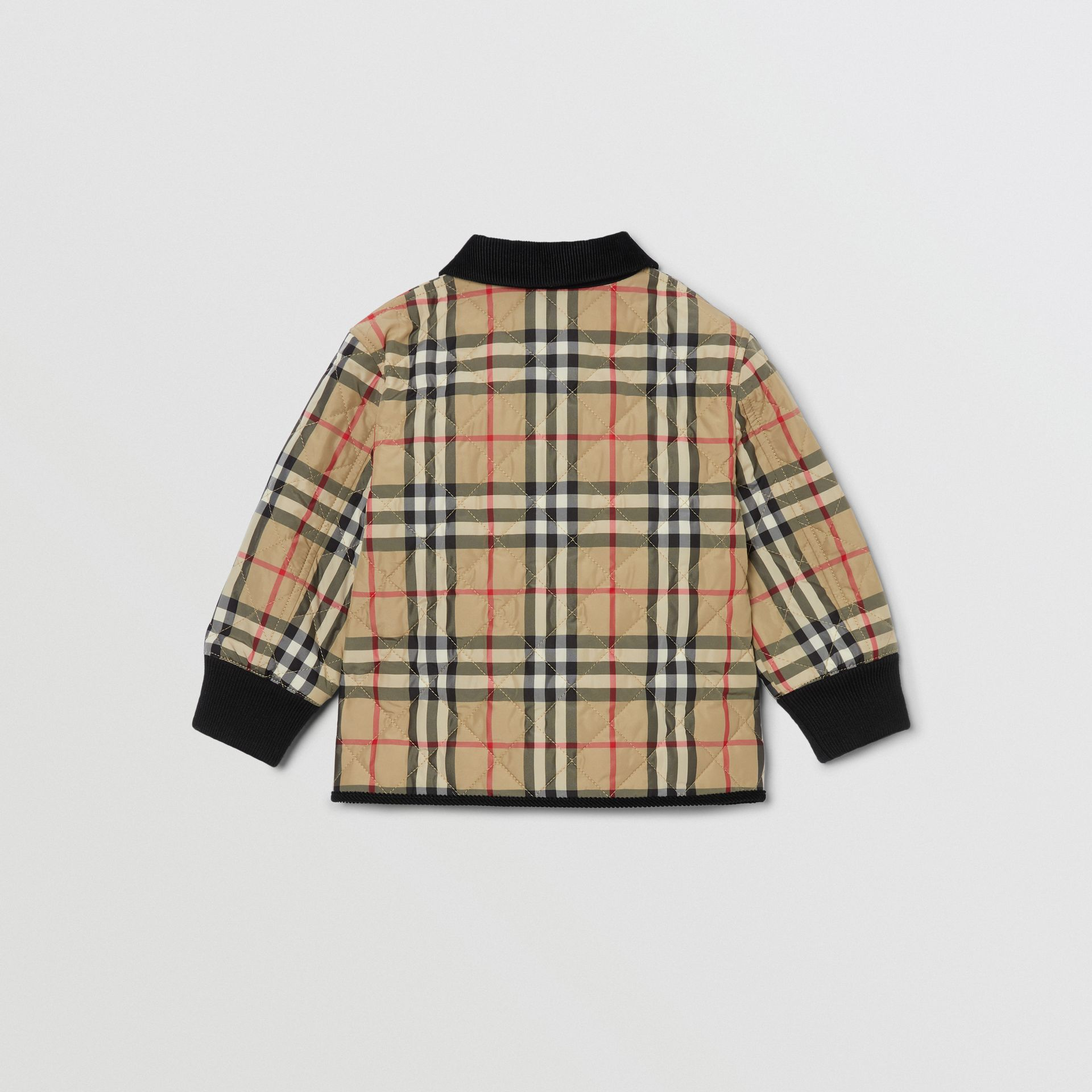 Corduroy Trim Vintage Check Diamond Quilted Jacket in Archive Beige - Children | Burberry - gallery image 3