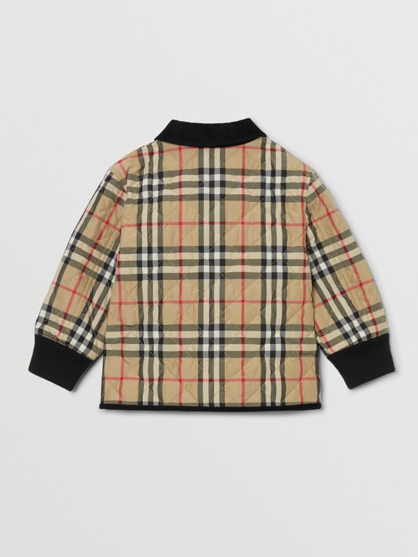 Corduroy Trim Vintage Check Diamond Quilted Jacket in Archive Beige - Children | Burberry - cell image 3