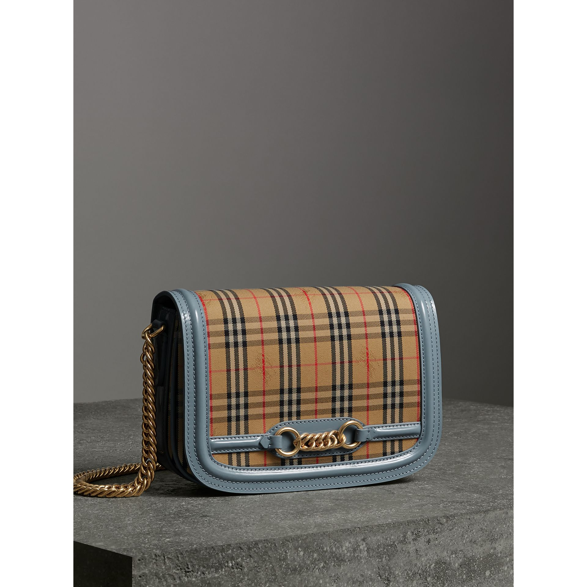 The 1983 Check Link Bag with Patent Trim in Blue Sage - Women | Burberry Singapore - gallery image 8